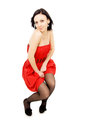 Free Sexy Shapely Girl In A Red Dress Royalty Free Stock Images - 31322659