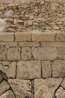 Free Fragment Of Ancient Stone Wall. Shore Of The Mediterranean. Stock Image - 31320601