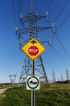 Free Road Sign + Electrical Towers Stock Photo - 31320800