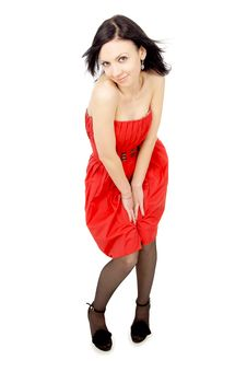 Sexy Girl In A Red Dress Royalty Free Stock Image
