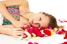 Free Portrait Of A Girl With Petals Royalty Free Stock Photos - 31323118