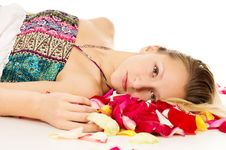 Free Portrait Of A Beautiful Girl With Rose Petals Stock Photo - 31323290