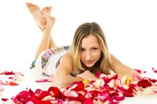 Free Healthy Skin, A Beautiful Girl Lies In Rose Petals Stock Photos - 31324543