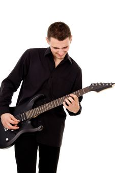 Handsome Guy Plays The Electric Guitar