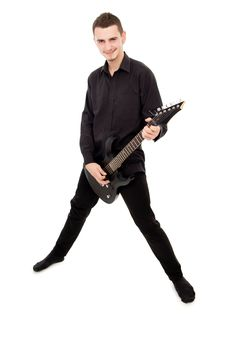 Guy In Black Clothes Plays The Guitar Stock Photo