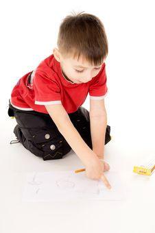 Free A Little Boy Draws On The Paper Stock Photos - 31328113