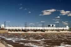 Hydroelectric Power Station In Solar Summer Day. Royalty Free Stock Photography