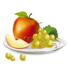 Free Apples And Grapes On A Platter Royalty Free Stock Photography - 31339767