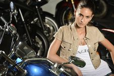 Free Portrait Of Beautiful Sensitive Woman With Motorcycle Royalty Free Stock Image - 31345066
