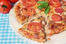 Vegetarian Pizza With Cheese, Tomatoes And Mushrooms Royalty Free Stock Image