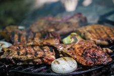 Meat Steak On Grill Royalty Free Stock Images