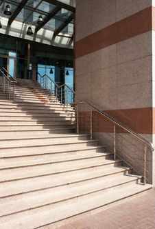 Granite Staircase With Metal Railing Stock Photo