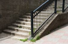Concrete Staircase With Metal Railing Stock Image