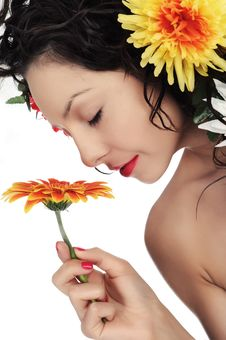 Free Woman Smells Flower Stock Photo - 31368010