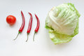 Free Vegetables &x28;tomato, Three Chili And  Cabbage&x29; On а White Background Royalty Free Stock Photo - 31371405