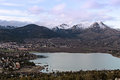 Free Views Of The Town And Lake With Snowy Mountains Royalty Free Stock Photos - 31372568