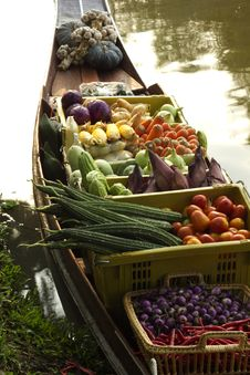 Boats Selling Fruit. Royalty Free Stock Images