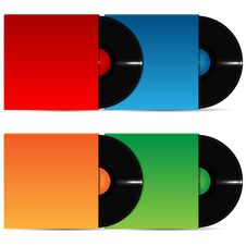 Free Set Of Vinyl Plates In The Varicoloured Packing Stock Photo - 31381810
