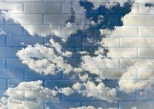 Free Blue Sky In A Brick Wal Royalty Free Stock Photography - 31384477