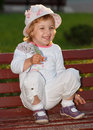 Free The Girl In Park On A Bench. Royalty Free Stock Images - 31395749