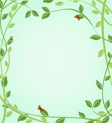 Free Floral Green Background With Butterflies On Leaves Royalty Free Stock Image - 31393046
