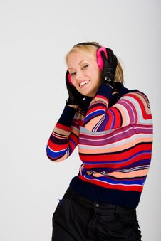 Free Holding Ear Muff Smile Royalty Free Stock Photography - 3144657