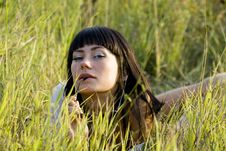 Free Beautyfull Girl On The Meadow Royalty Free Stock Images - 3144789