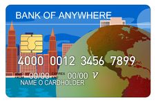 Free Credit Card With Buildings Map Stock Photography - 3147302