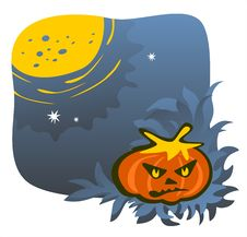 Free Gloomy Pumpkin And Moon Stock Photography - 3148692
