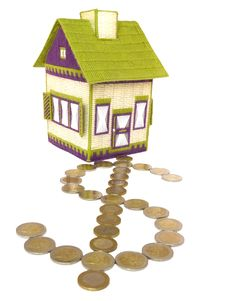 Embroidered House With Dollar Path Of Euro Coins Stock Images