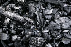 Black Smoldering Wood Embers Stock Photo