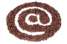 The @ Symbol Made from Coffee Beans Royalty Free Stock Images