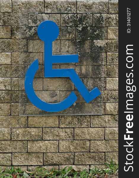Blue sign of a handicap accessible sign