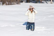 Young Woman Enjoying Winter Stock Photography