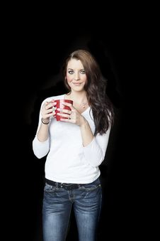Young Woman With Beautiful Blue Eyes Drinking Coffee Stock Images