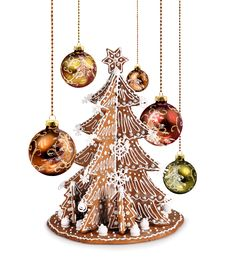 Free Gingerbread Tree And Xmas Glass Balls Royalty Free Stock Photo - 31413485