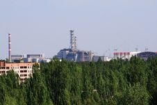 Pripyat City And Chernobyl Nuclear Power Plant View Stock Photography
