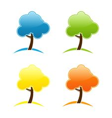 Free Four Seasonal Icons With Tree Stock Image - 31418341