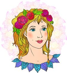 Free Pretty Girl Hand-drawn Vector Face In Flowers Stock Image - 31419151