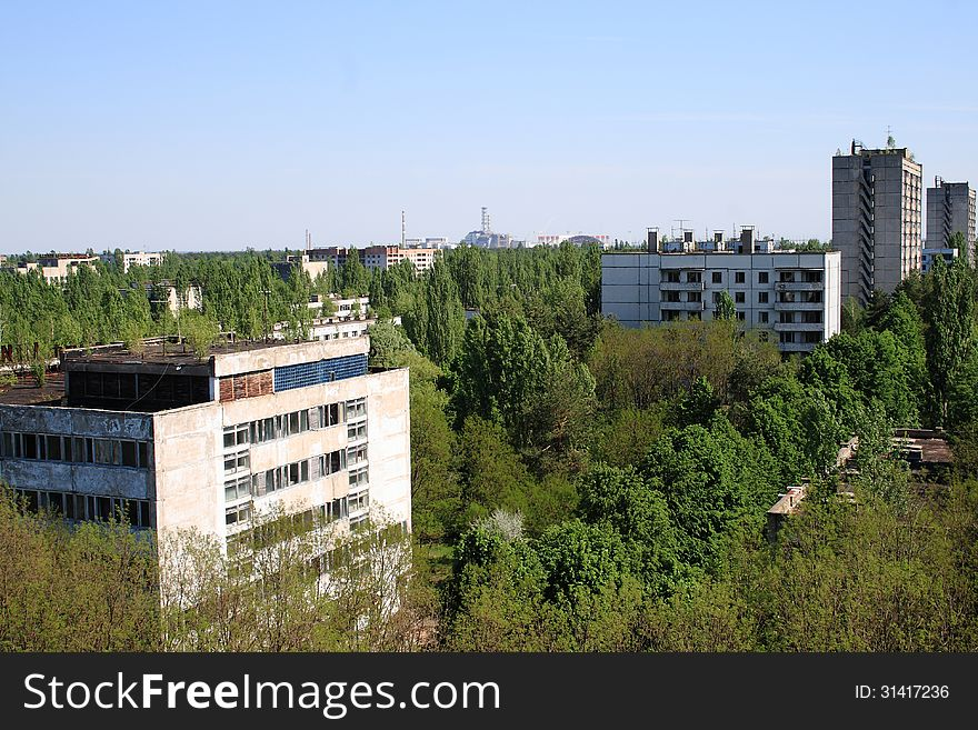 Pripyat city and Chernobyl Nuclear Power Plant view