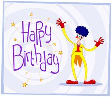 Free Afro Clown Birthday Greeting Stock Image - 31421311