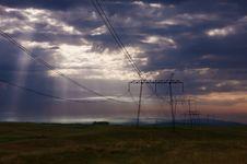 Free Electricity Pylons At Sunrise. Stock Photo - 31427090