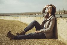 Free Teenager In Sitting On Sidewalk Stock Photos - 31431133