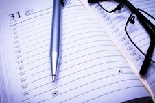 Free Address Book, Pen & Glasses Royalty Free Stock Photo - 31435275