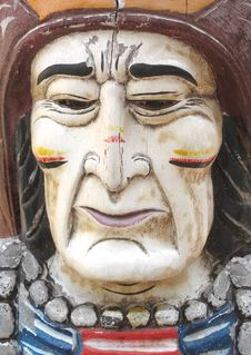 Carved Wooden Face American Indian Stock Photography