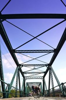Free Bicycle On Historical Iron Bridge, Cloudy And Blue Sky Stock Photos - 31446853