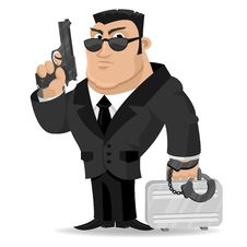 Free Agent Keeps Gun And Suitcase Royalty Free Stock Photo - 31452205