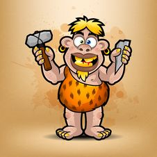 Free Neanderthal Holds Stone And Hammer Stock Photo - 31453300