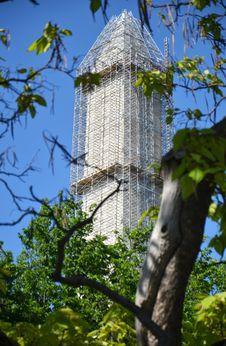The Washington Monument Under Reconstruction. Stock Photos