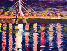 Free Drawing In Impressionists Manner - Bridge And A River In The Nig Royalty Free Stock Photo - 31468555